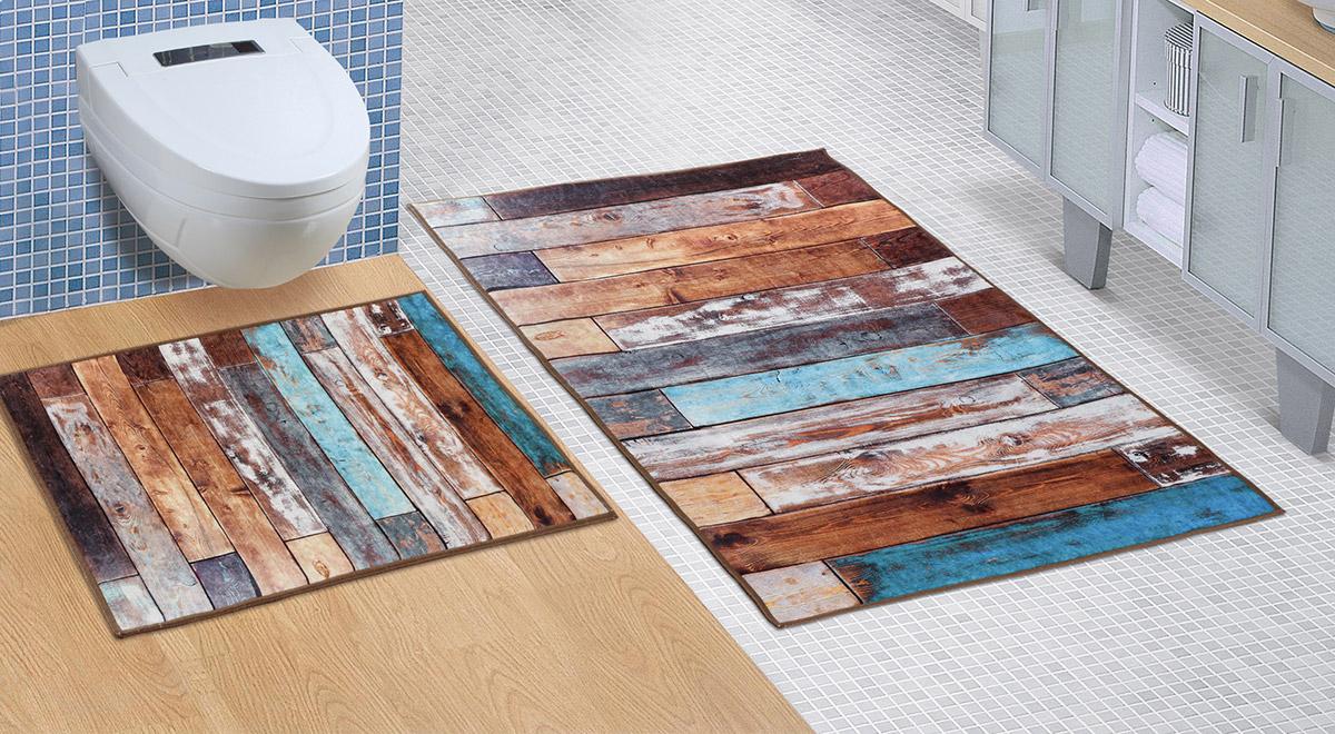 Koupelnová sada předložek 3D 60x100+60x50cm BEZ VÝKROJE dřevěná podlaha