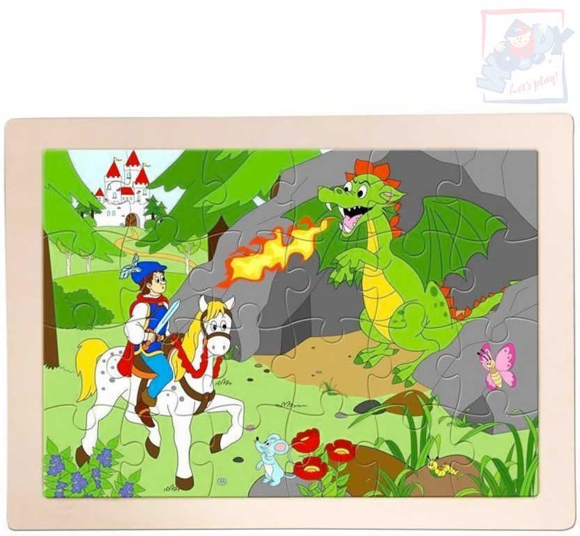 WOODY DŘEVO Puzzle v rámečku Princ Bajaja 24x17cm skládačka 24 dílků