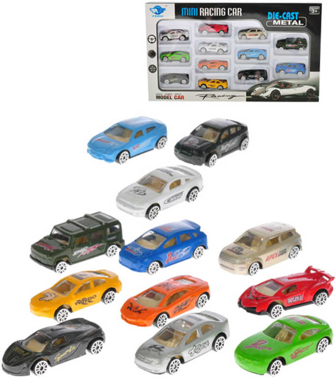 Auto mini kov 5 cm volná kola set 14 ks v krabičce
