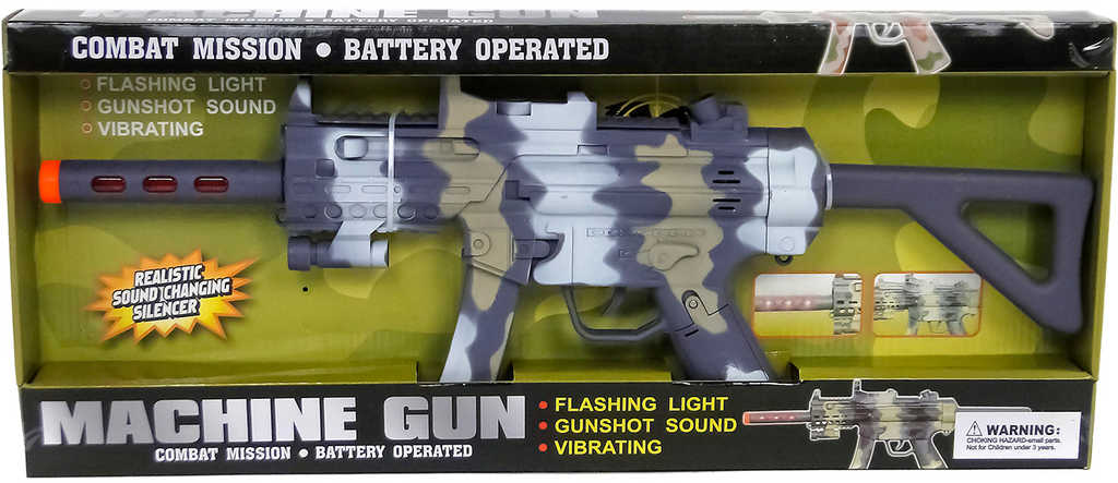 Samopal dětský vojenský s vibracemi na baterie různé barvy Světlo Zvuk