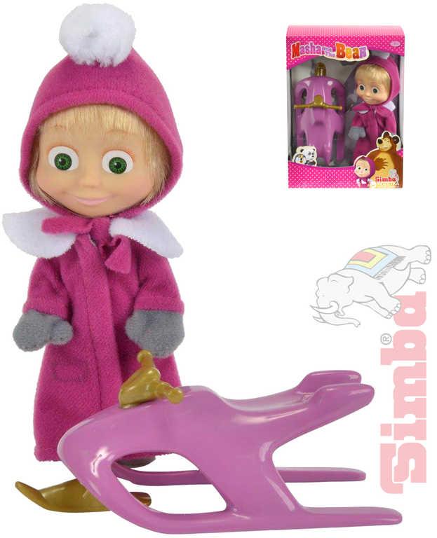 SIMBA Máša a medvěd panenka 12 cm zimní set se skútrem