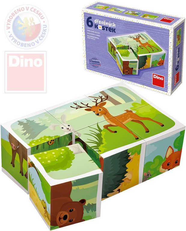 DINO DŘEVO Kubus set 6ks Zvířátka lesní obrázkové kostky