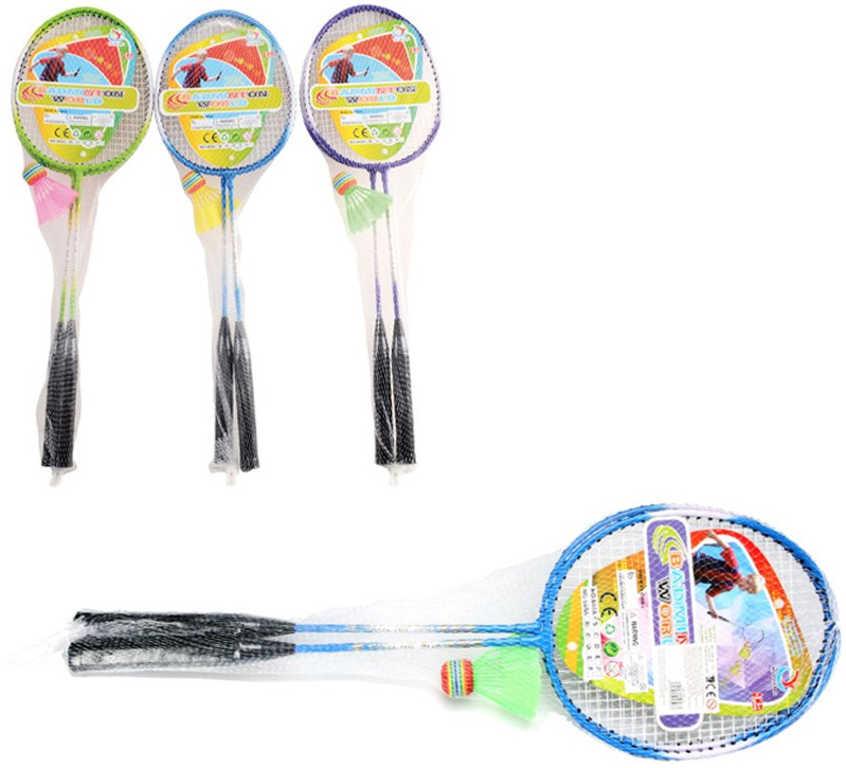 Badminton set 2 pálky s barevným košíčkem 3 barvy