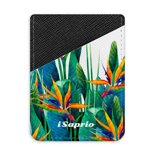 Pouzdro na kreditní karty iSaprio - Exotic Flower - tmavá nalepovací kapsa