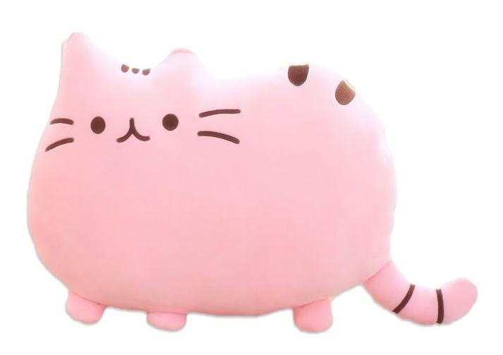 Plyšová kočka - dekorační polštářek 30x40cm, růžová