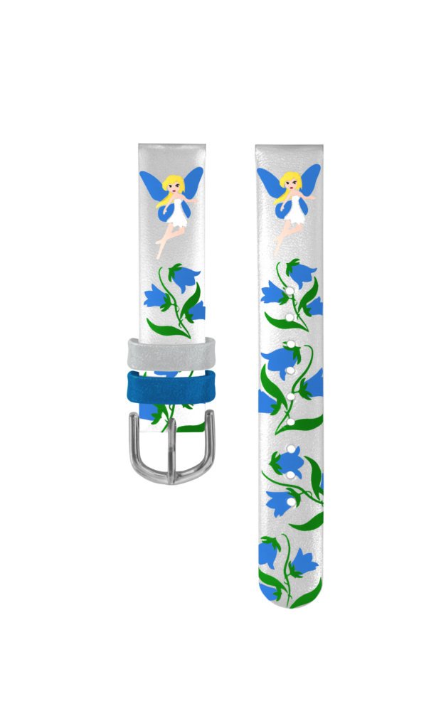 Stříbrný řemínek s modrými vílami k dětským hodinkám CLOCKODILE