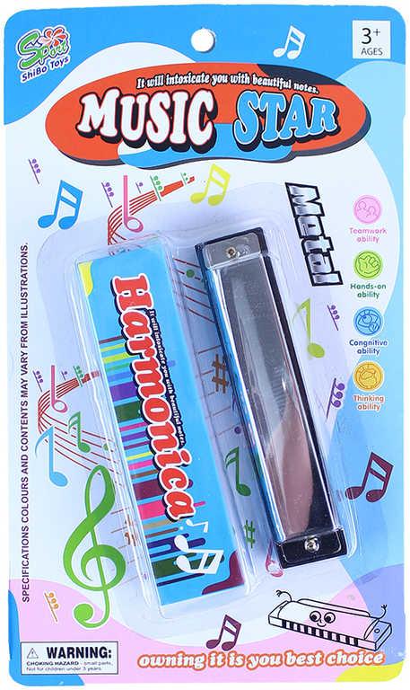 Harmonika foukací kovová 13cm set s papírovou krabičkou *HUDEBNÍ NÁSTROJE*