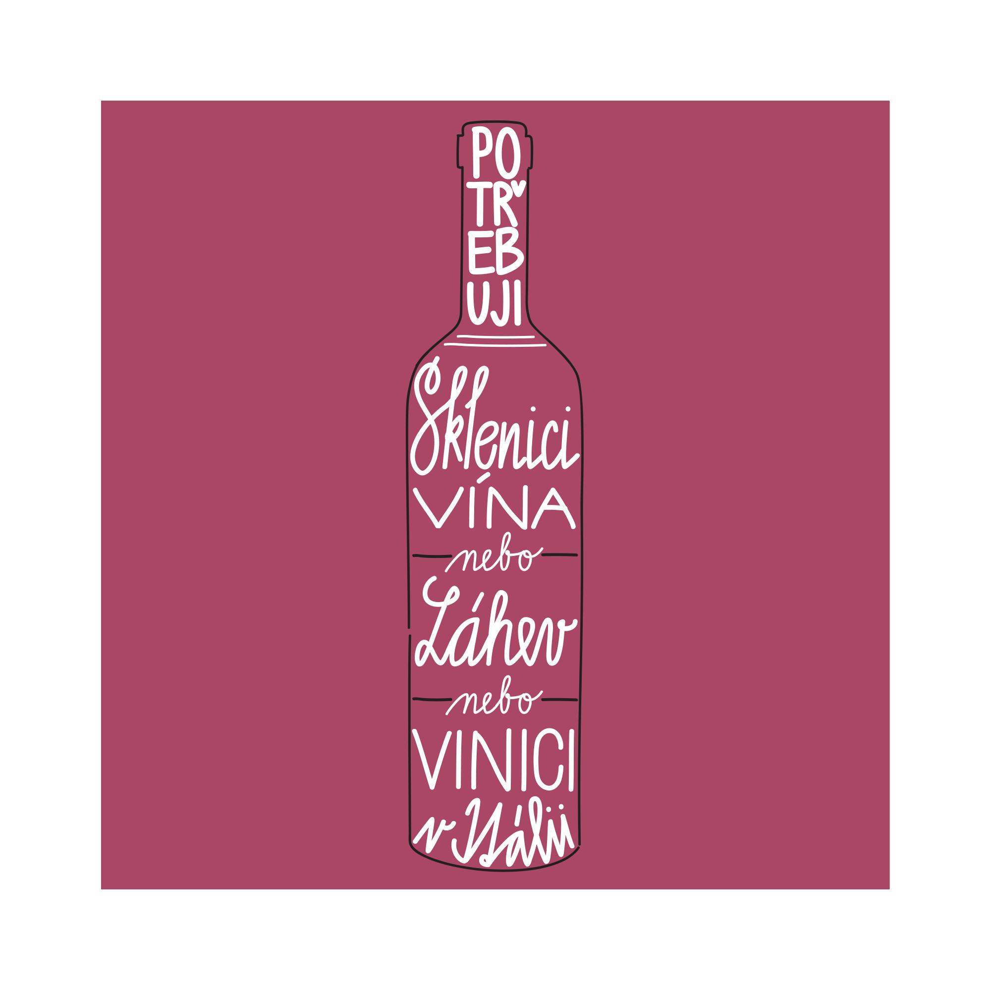Plátěná taška - Lahev vína