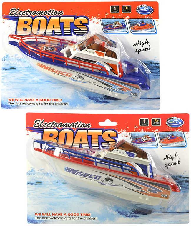 Loď plastová jachta do vody člun 24cm na baterie 2 barvy