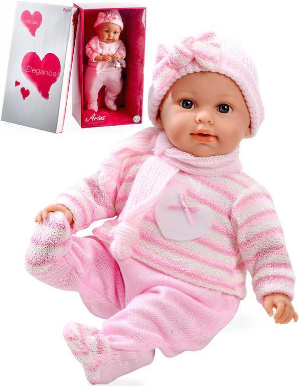 Panenka Arias miminko vonící 45cm měkké tělo, růžový obleček, pláče