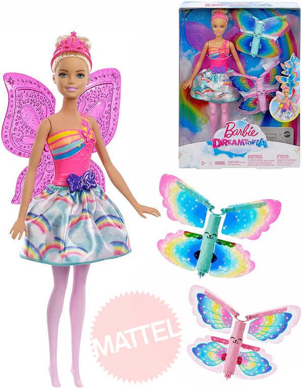 MATTEL BRB Dreamtopia Panenka Barbie blondýnka víla létající set s náhradními křídly