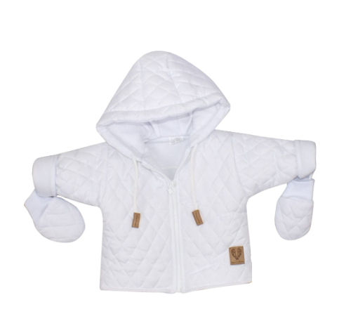 Z&Z Zimní prošívaná bundička s kapucí + rukavičky - bílá, vel.