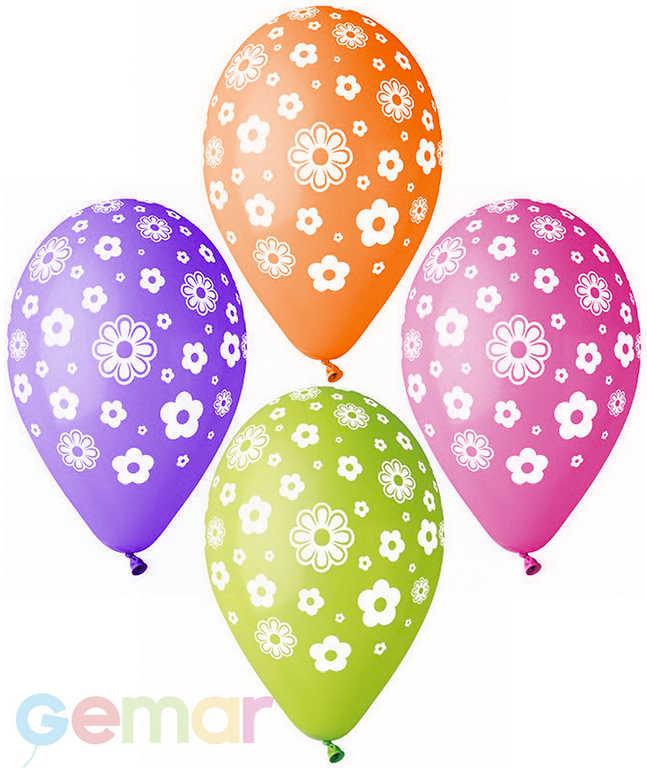 GEMAR Balónek nafukovací 30cm Pastelový potisk KVÍTKY různé barvy 1ks