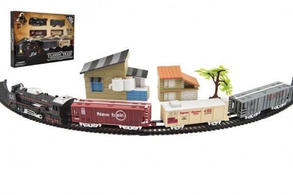Vlak + 3 vagóny s kolejemi s doplňky plast 104x68cm na baterie se světlem v krabici 46x32x