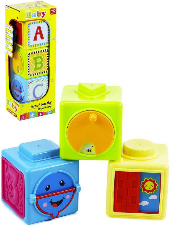 Baby hravé kostky barevné naučné set 3ks s aktivitami pro miminko plast