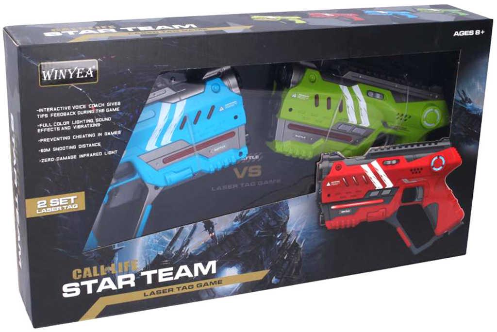 Hra Laser pro dva pistole zelená + modrá na baterie Světlo Zvuk plast