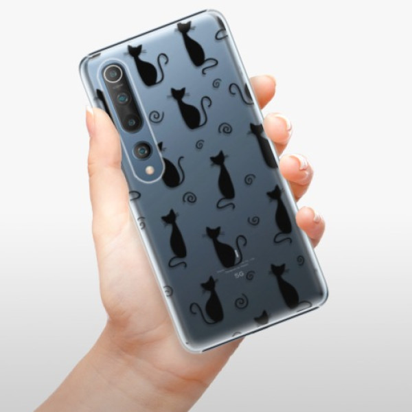 Plastové pouzdro iSaprio - Cat pattern 05 - black - Xiaomi Mi 10 / Mi 10 Pro
