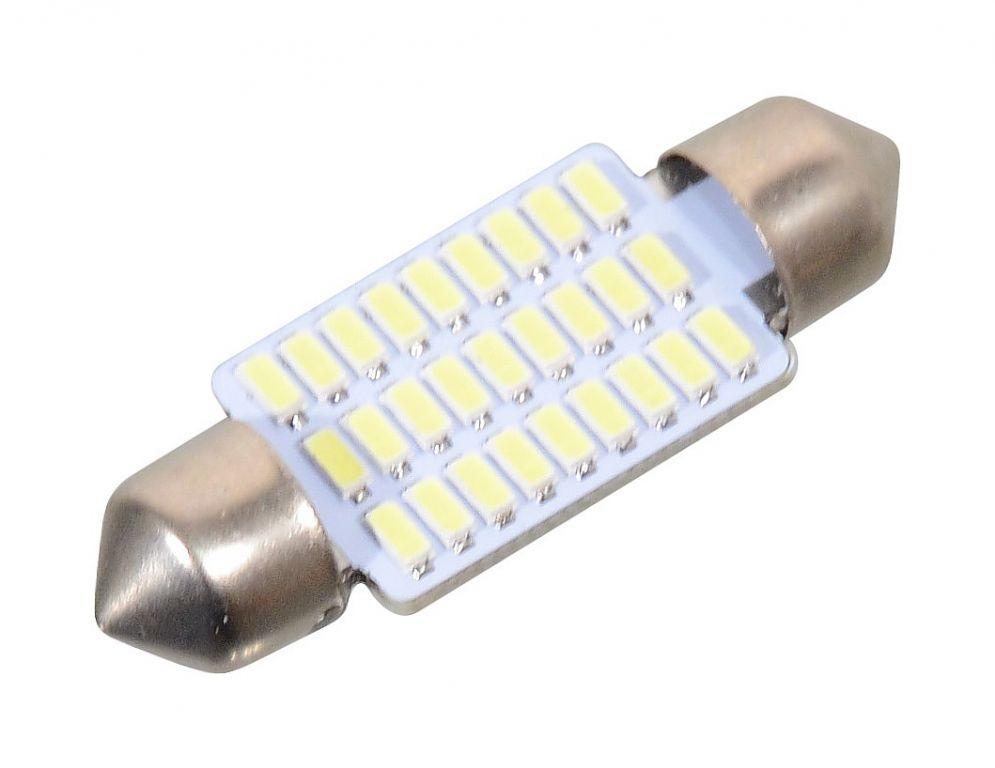 Žárovka 27 SMD LED 12V, suf. SV8.5 38 mm bílá