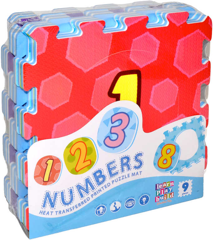 Bloky měkké soft baby kobercové puzzle na zem 89x89cm podložka čísla set 9 dílků