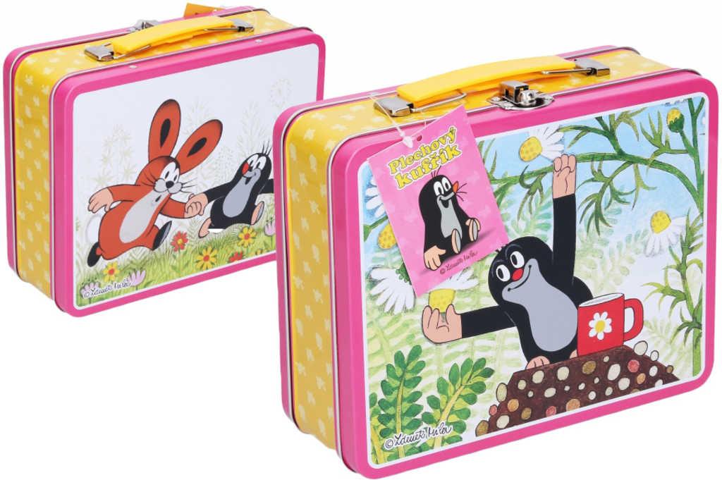 Kufřík dětský Krtek (Krteček) plechový růžový 19,5x7,5x16,5cm