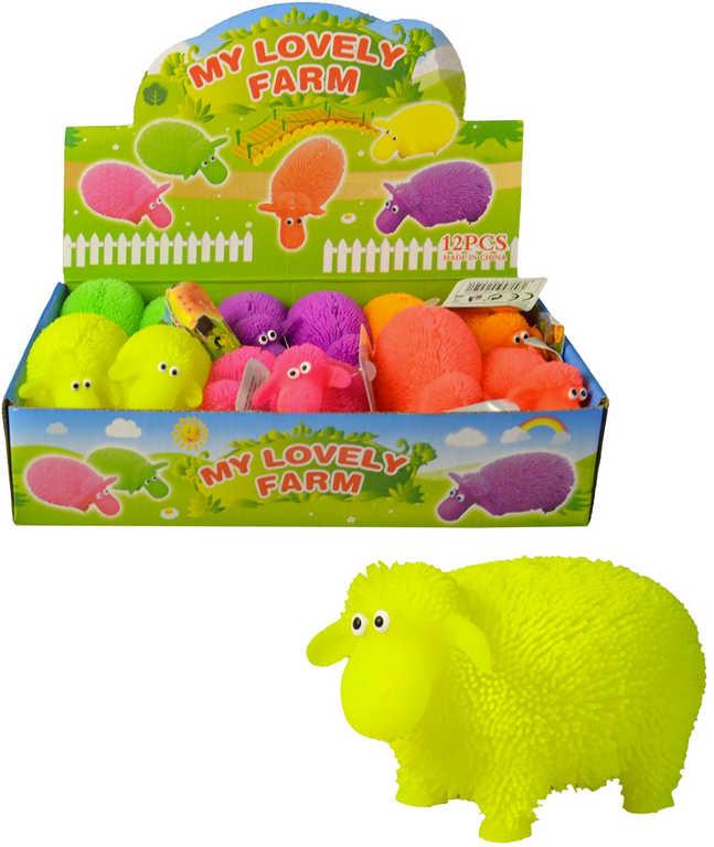 Ovečka soft gumová 10cm měkké bodlinky elastická 6 barev antistresová bliká