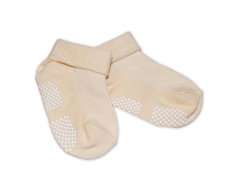 Kojenecké ponožky Risocks protiskluzové - béžové, 12-24 m - 12/24měsíců