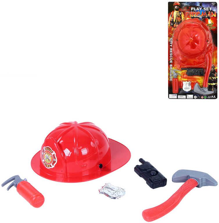 Malý hasič set přilba plastová s nástroji a doplňky v síťce