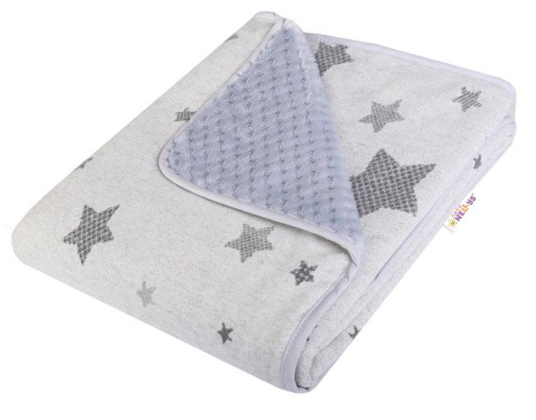 Baby Nellys Dětská Dual deka s minky, hvězdičky - šedá