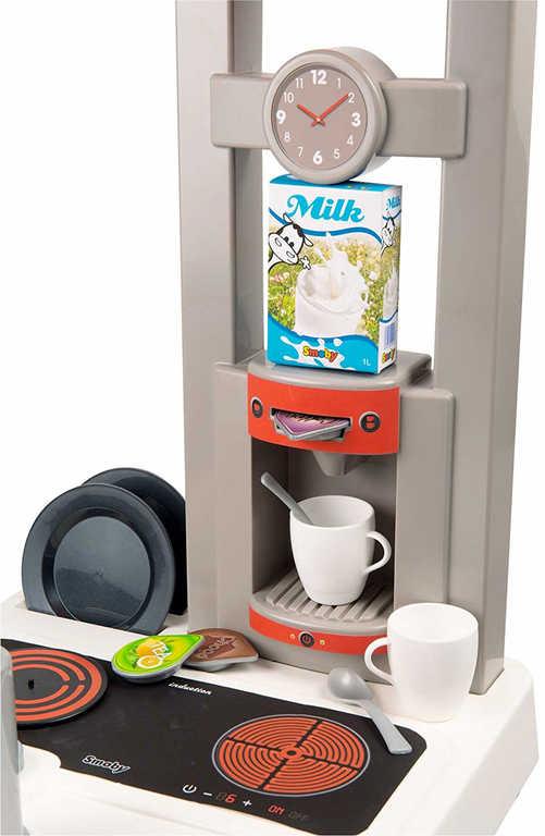 SMOBY Kuchyňka dětská Bon Appetit červeno-bílá set s nádobím a kávovarem Zvuk
