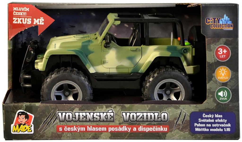 Jeep vojenské army auto na setrvačník 23cm na baterie Zvuk CZ plast