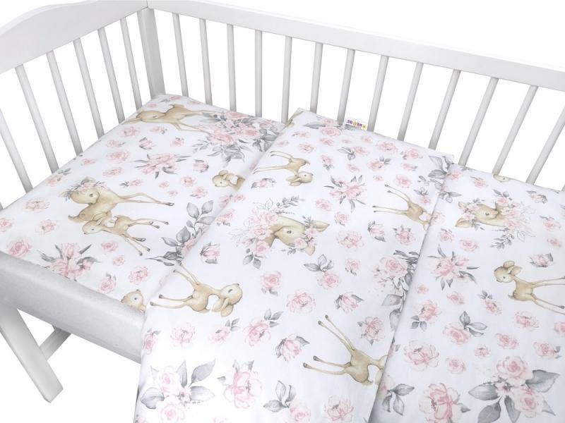 baby-nellys-2-dilne-bavlnene-povleceni-srnka-a-ruze-ruzova-135x100-cm-135x100