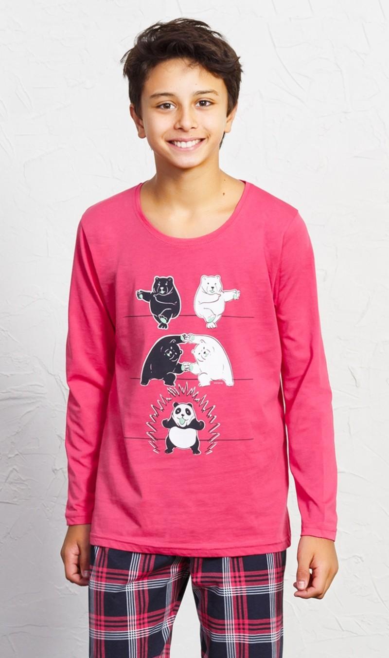 Dětské pyžamo dlouhé Panda - Petrolejová 11 - 12