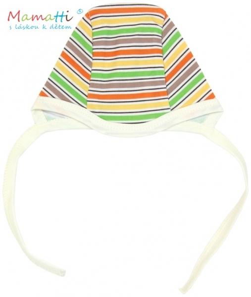 Čepička Mamatti - CAR- barevné proužky - 62 (2-3m)