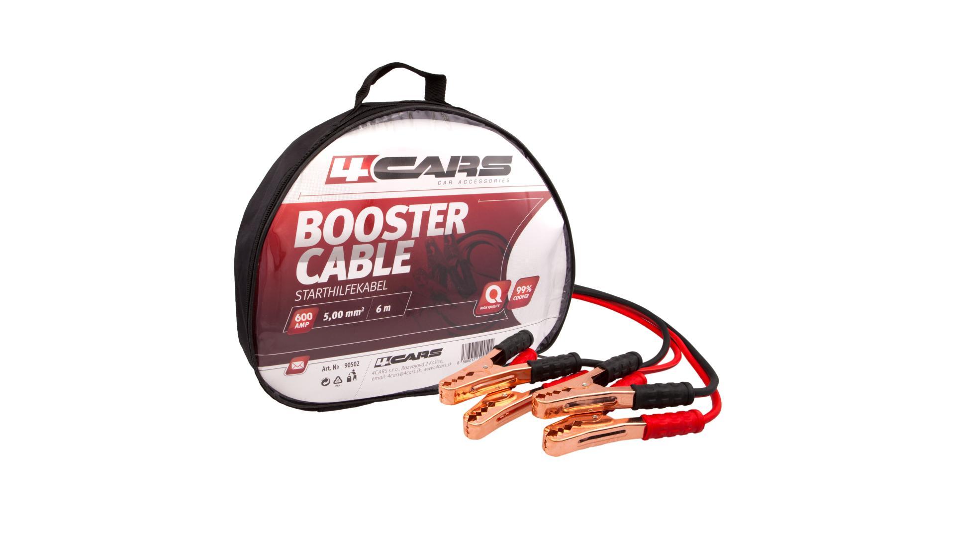 4CARS Startovací kabely 600amp, 6.0mm², 6m