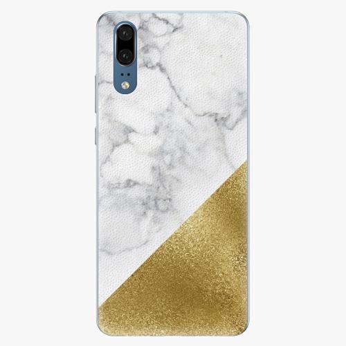 Silikonové pouzdro iSaprio - Gold and WH Marble - Huawei P20