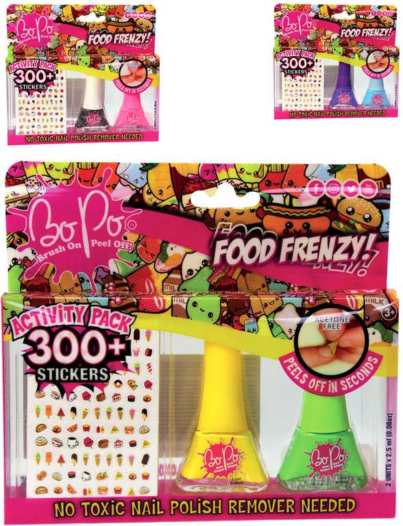 EP Line BO-PO Food Frenzy set lak na nehty slupovací 2ks + 300 samolepek