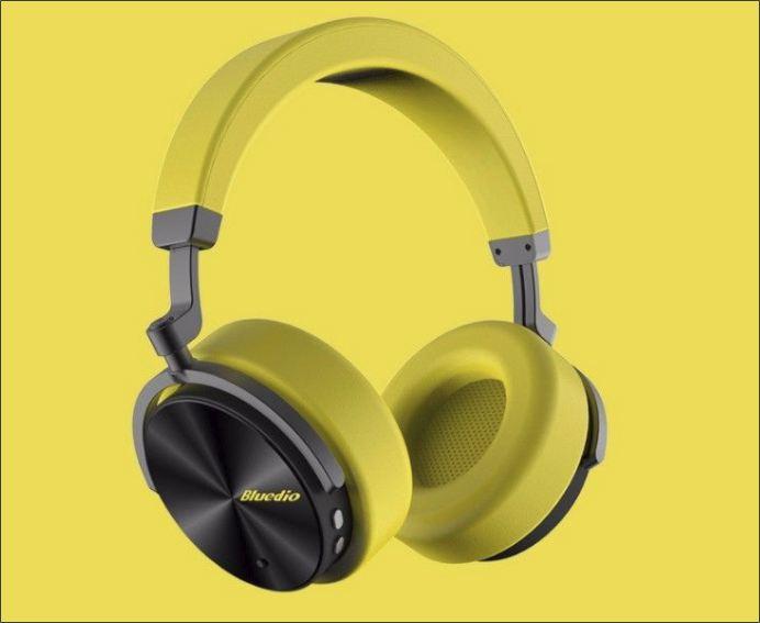 Náhlavní bluetooth sluchátka Bluedio T5 - Žlutá