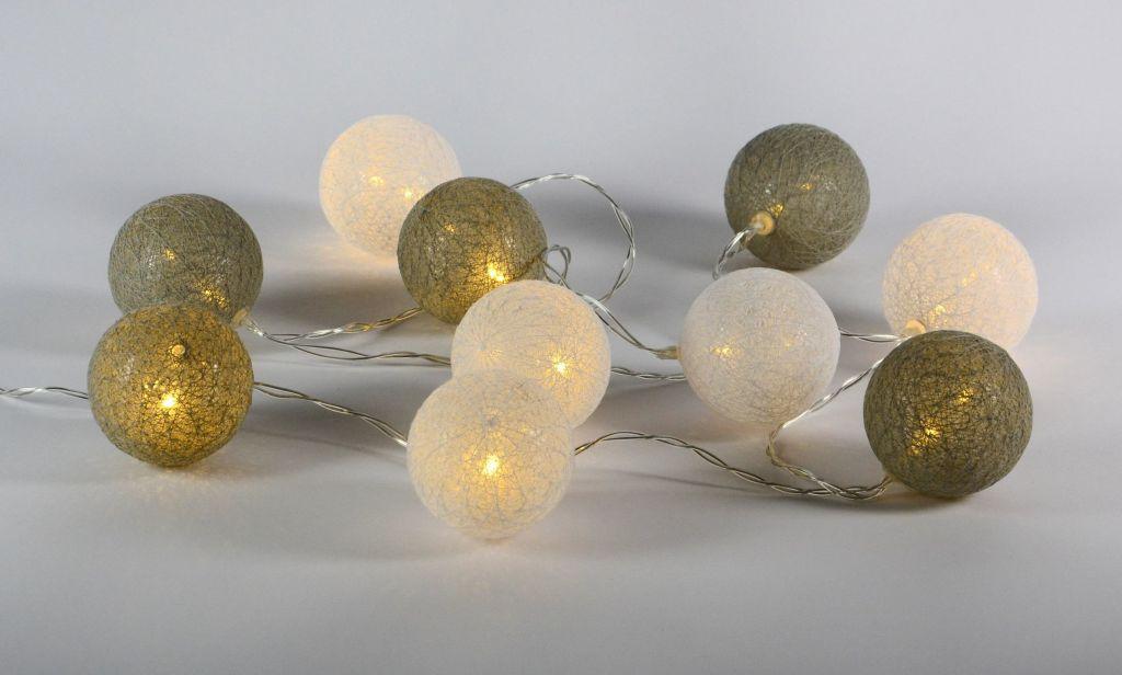 LED světelná dekorace - tkaná koule - 10 LED teple bílé