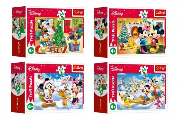 Minipuzzle Vánoce s Mickeym 54 dílků 4 druhy v krabičce 9x6,5x3,5cm 40ks v boxu