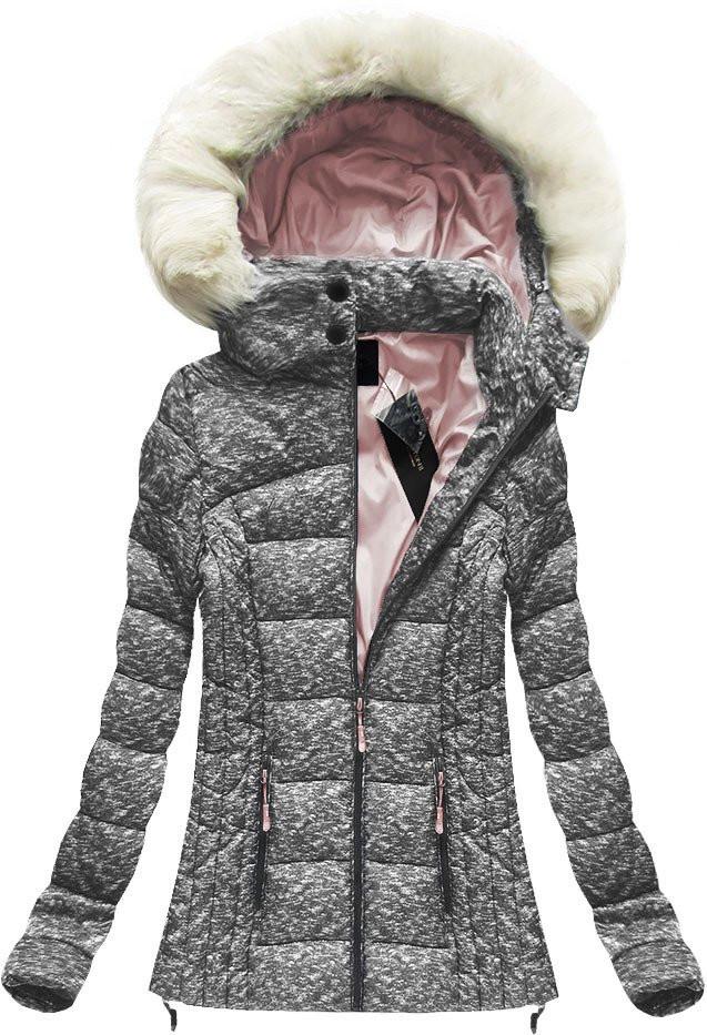 Šedo-růžová dámská prošívaná bunda (8866)