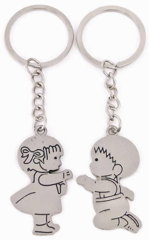 Přívěsek kovový holčička a chlapeček na klíče Valentýn set 2ks