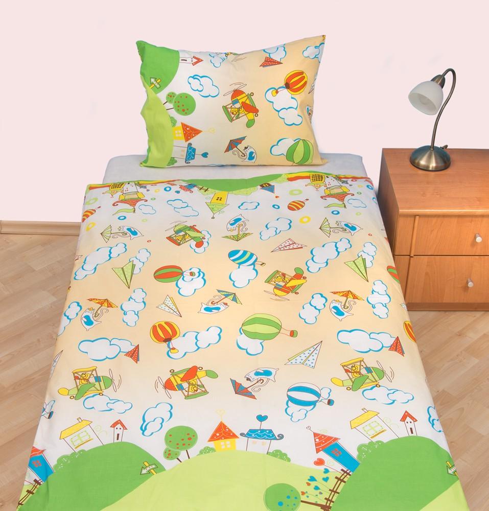 Povlečení dětské krep velká postel Letadýlko béžové, Výběr zapínání: