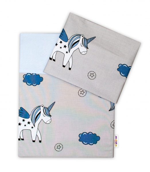 2-dílné bavlněné povlečení Jednorožec, 135x100 - šedá/modrá - 135x100