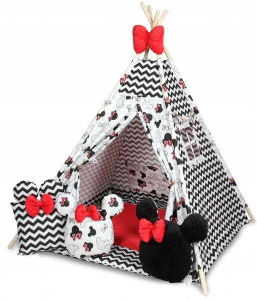 Baby Nellys Stan pro děti týpí s velkou výbavou, Zig zag, bílá, černá, červená