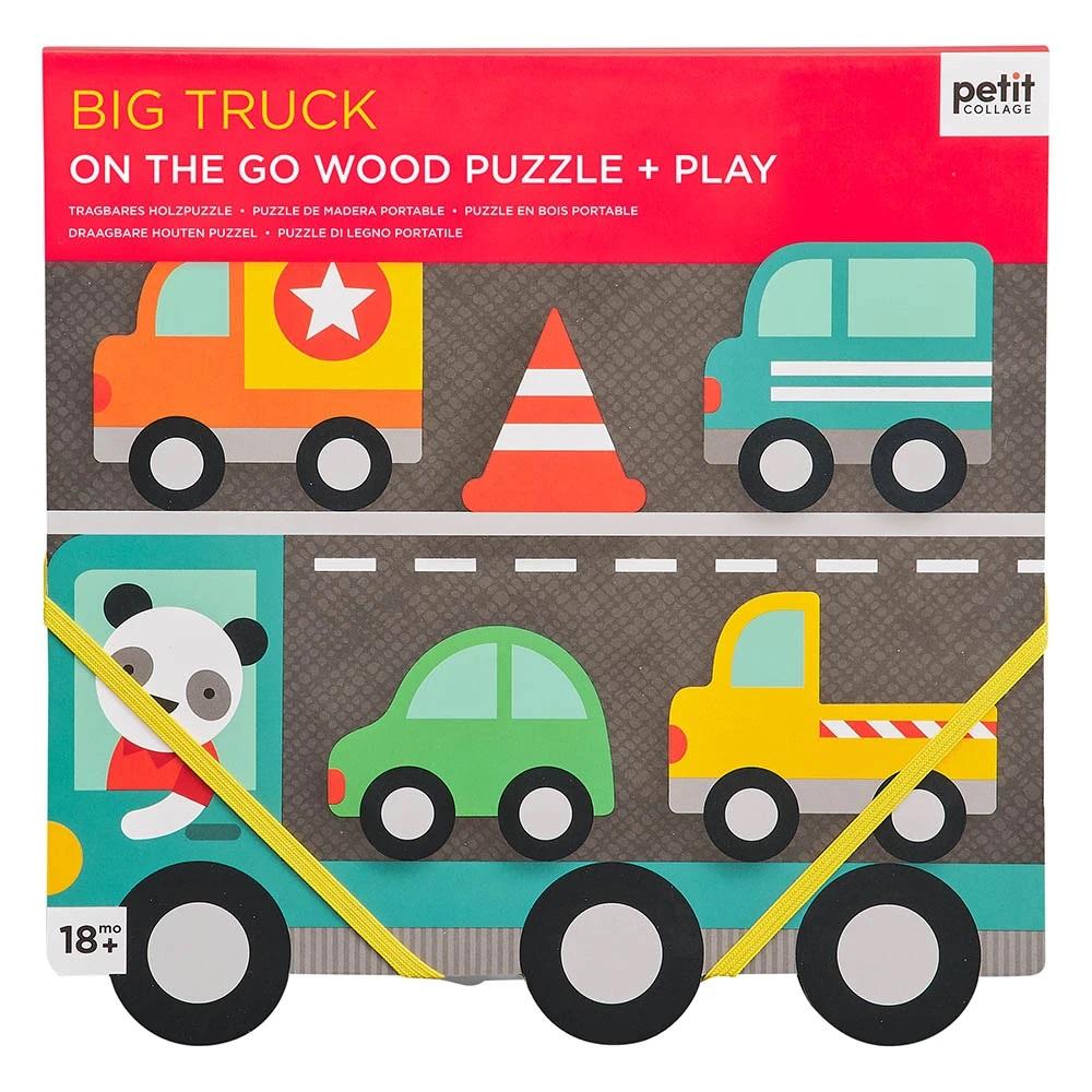 Petit Collage Robustní dřevěné puzzle Big Truck