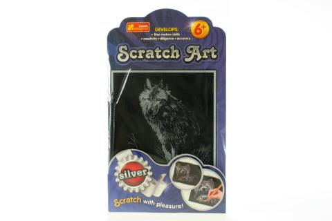 Vyškrabovací obrázek stříbrný - vlk
