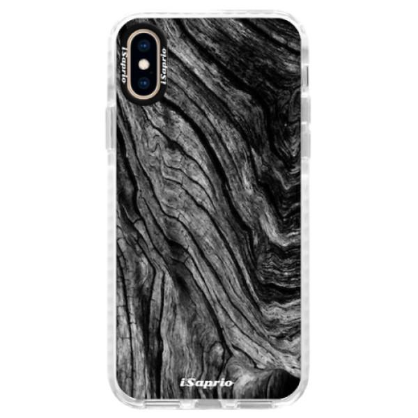 Silikonové pouzdro Bumper iSaprio - Burned Wood - iPhone XS