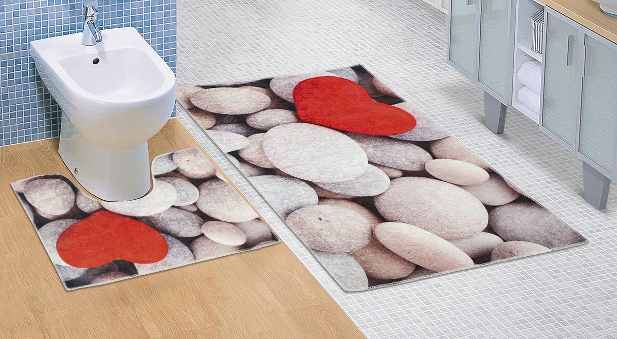 Koupelnová sada předložek 3D 60x100+60x50cm Světlé kameny