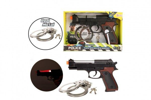Policejní sada pistole, pouta se světlem se zvukem