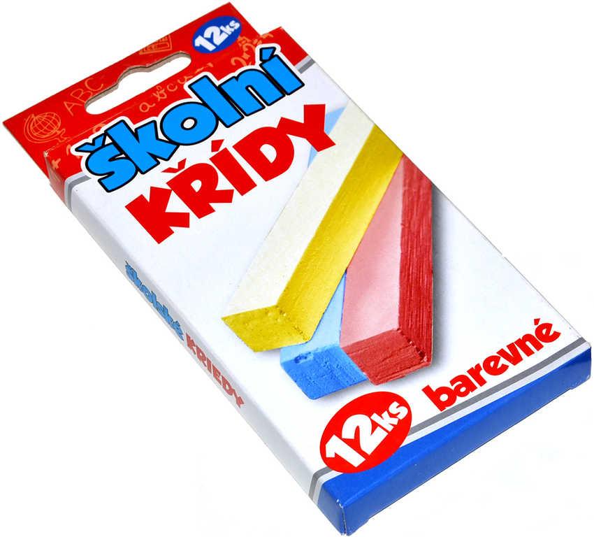 Křídy dětské školní set 12ks barevné v krabičce